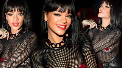 Rihanna melltartó nélkül ment bulizni