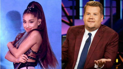 Ariana Grande is beül James Corden mellé