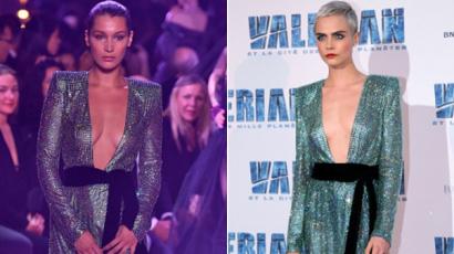 Bella Hadid és Cara Delevingne ugyanazt a ruhát viselte! Kinek áll jobban?
