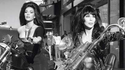 Cher, Naomi Campbell és Kim Kardashian szexi motorosoknak öltözött egy fotózáson