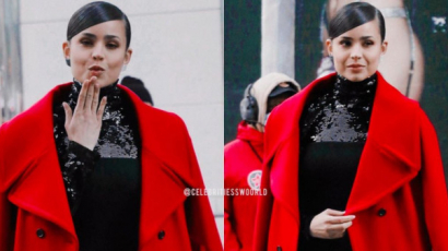#Szavazás! Sofia Carson piros kabátja egyszerűen fantasztikus: tedd vagy ne?