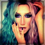 Ke$ha with rainbow hair